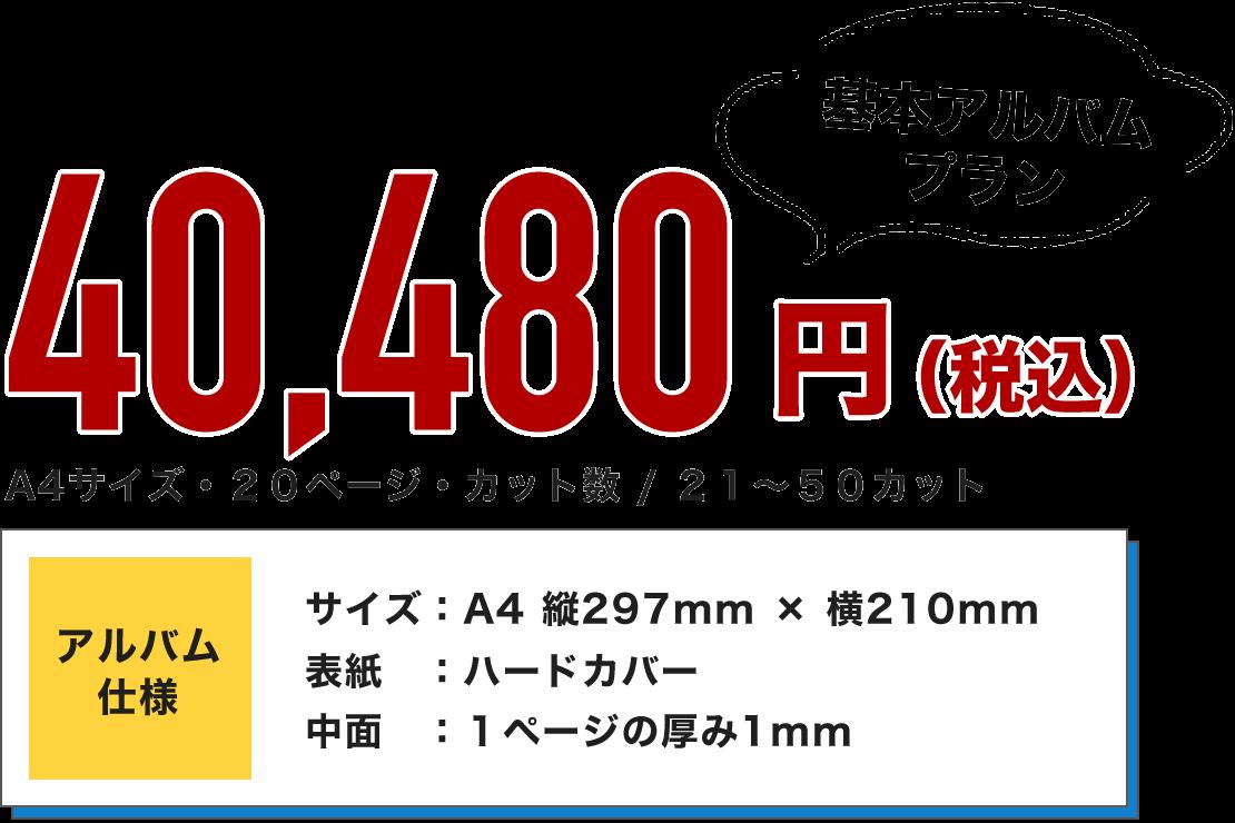 基本アルバムプラン 36,800円(税別)A4サイズ・20ページ・カット数 / 21~50カット